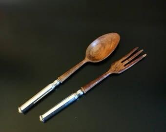 Wooden Salad Spoon & Fork w/ Sterling Silver Handles - Vintage Kitchen