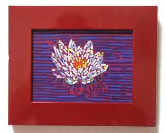 White lotus Southern flower Lotus art Yoga painting Lotus flower Straightedgism style Flower of Buddha Budism Tibet painting Buddhist art