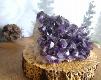 Gorgeous Natural Amethyst Curved Cluster w/ Big Crystals of Deep Purple From Uruguay