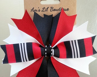 Black Red White Striped Chicago Blackhawks Spiked Hair Bow. Sports Team Bow.