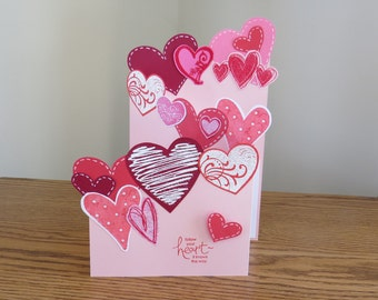 Valentine's Day Card For Wife, Husband, For Her, Him, For Sweetheart, Girlfriend, Boyfriend, Tri-fold Hearts