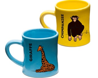 Kids Mug with Animals//Chimpanzee//Giraffe//Childrens Mug//Gifts for Kids//Gifts for Toddlers//Party Favor//Gifts for Boys//Unique Gift