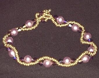 "Handmade Swarovski crystals and pearl bracelet - ""Desert Gem"""
