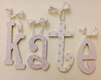 Nursery Letters, hanging nursery letters, light purple & white nursery letters, girl nursery/ room decor, girl custom wall letter