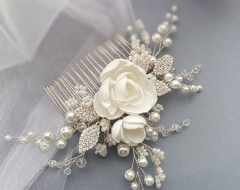 Magnolia Bridal hair comb, Wedding hair comb, Bridal headpiece, Wedding headpiece, Bridal hair piece, Wedding hair piece, Bridal head piece