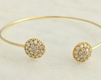 Crystal Studded Gold Open Cuff Bracelet