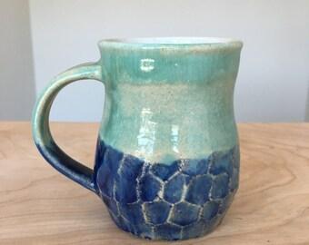 Blue and Green Ceramic Pottery Mug - Coffee Mug - Faceted Cup - White, Blue, Turquoise Mug - Handmade Mug - Rustic