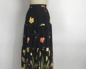 Vintage 70s High Waisted Boho Floral Festival Black Yellow Tiered Maxi Skirt S