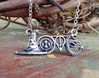 "Harry Potter Jewelry: ""LOVE"" Monogram Necklace - Sorting Hat, Time Turner, Deathly Hallows, & Hungarian Horntail Dragon"