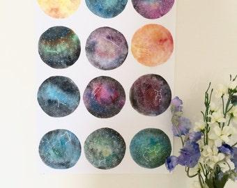 Galaxy Zodiac Constellation Poster