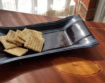 Glass Hors d'oeurves Platter - Black Stripe