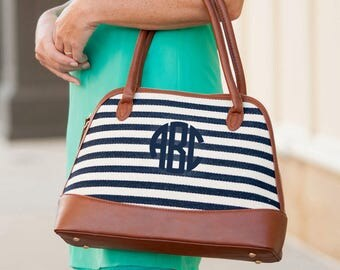 Monogrammed Chandler Stripe Purse..Monogrammed Bag..Nautical Purse