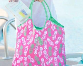 Monogrammed Pineapple Beach Bag...Travel Bag..Pineapple Print..Fun Beach Bag
