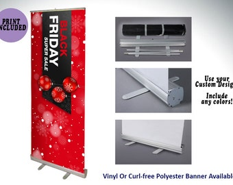 """33"""" x 81"""" Retractable Banner Stand with Banner Print 