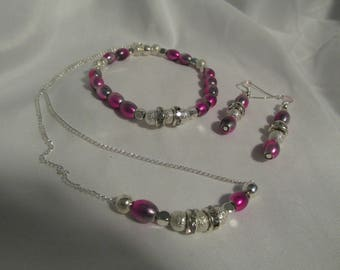 Pink and Silver  Necklace Set (3pc)