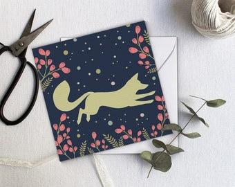 Jumping Fox Greeting Card - Navy