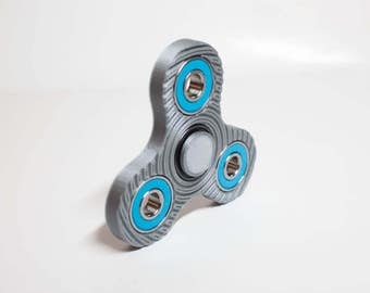Fidget Hand Spinner- EDC - Tri Spinner-  Silver 3d printed every day carry- triangle stress anxiety relief- Bearing Upgrades Available