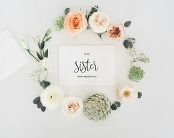 To My Sister On My Wedding Day Card, Wedding Day Card, Night Before Wedding, Wedding Card to Sister, Sister Gift, Sister Card, Printable PDF