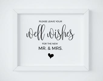 well wishes sign for the new mr and mrs sign please leave your well