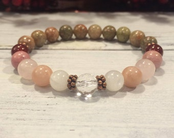 Fertility 7 Bracelet, 7 Best Crystals For Trying To Conceive, Fertility Healing Bracelet, Pregnancy Support, TTC, Self Love & Compassion