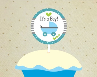 Printable Baby Shower Cupcake Toppers – Baby Shower Decorations Boys – Stroller Cupcake Toppers - It's a Boy Cupcake Toppers.