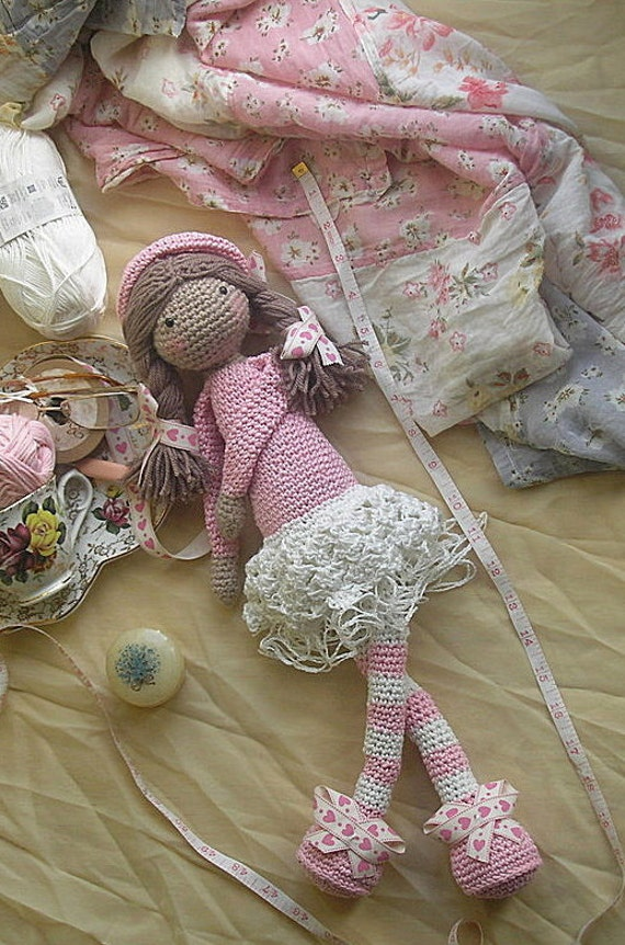 Snuggly Beret Doll, in Pink and Cream cotton yarn, detailed with lace underskirt, floppy long arms and legs for your little one to cuddle