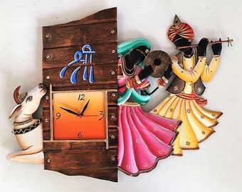 RADHA KISHAN & COW iron hanging wall clock | Radha Krishna Wall Iron Wall Clock Traditional design clock