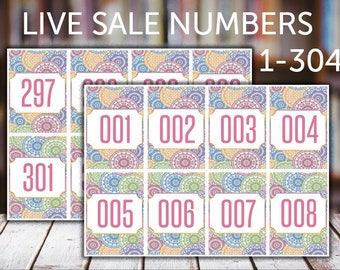 FB Live Sales, Normal Tags, 001-304, llr numbers, llr number tags, Normal Numbers, Number Tags, Printable, Instant Download