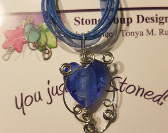 Blue Glass Heart Pendant