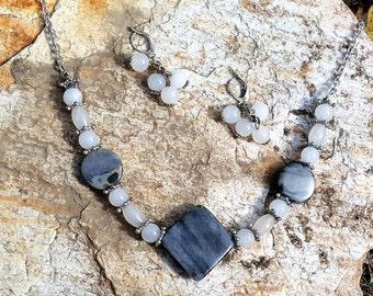 Moonstone and Gray Granite Set