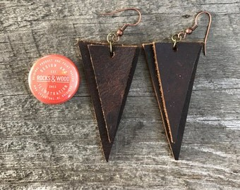 3 inch Leather Double Triangle Earrings