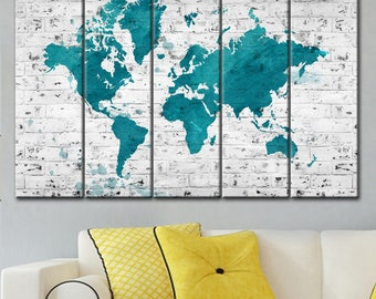 World Map Brick, Abstract wall art, World map abstract, Home decor wall art, world map canvas, Print World Map Poster, Extra Large Wall Art