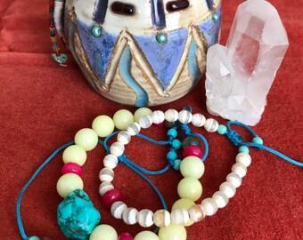 Stacking bracelets. Handmade bracelets. Natural stones bracelets. Boho bracelets.