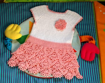 Spring Crocheted Baby Dress Toddler Dress Baby Outfit Toddler Outfit Baby Gift Baby Girl Clothing Toddler Gift Baby Gift Ideas Holiday Dress