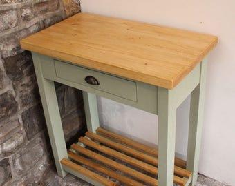 Crickhowell Handmade Solid Wood Butchers Block / Kitchen Island With Drawer