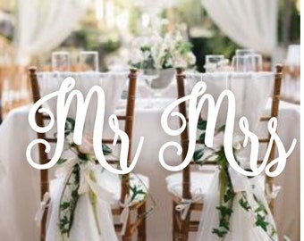 Wedding Decor.Chair Signs. Mr and Mrs  Chair Signs.