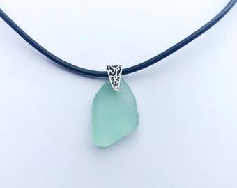 Leather Sea Glass Necklace, Sea Foam Sea Glass Leather Necklace, Sea Foam Sea Glass Necklace, Sea Glass Jewelry, Leather Jewelry