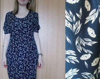 Vintage Floral dress, Blue dress, Vintage womens dress, Boho dress, Floral dress, Spring Summer dress, Size M