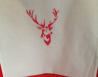 Stag Tote Bag 100% Cotton Hand Stencilled Red Stag Bag - Shopping Market Bag