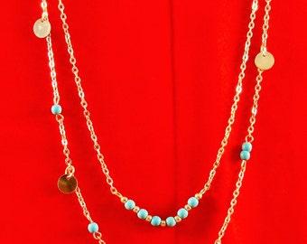 Multi-Strand Necklace with Imitation Turquoise Beads