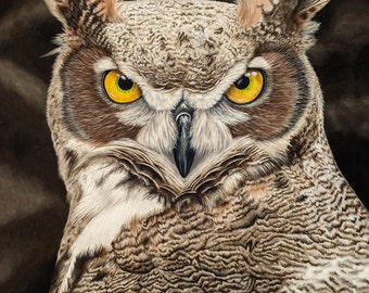 Great Horned Owl Painting | Owl Painting | Owl Close Up Painting | Owl Face | Giclee Print | Wall Art | Animal Art | Bird Painting