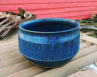 Blue Flat-sided Ceramic Serving Bowl w/ Black Hints