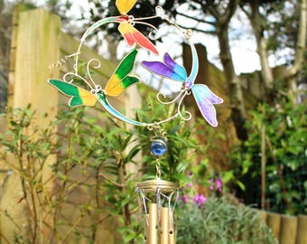 wind chimes with dragonflies colourful metal and glass wind chimes mobile