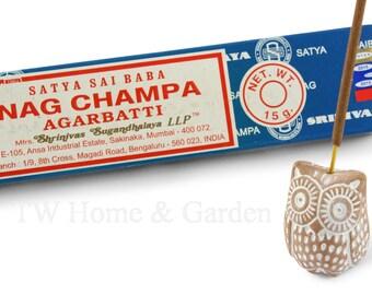 Ceramic owl incense holder owl shaped incense stick holder plus Nag Champa