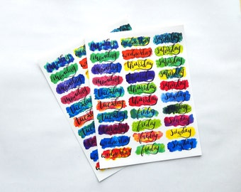 30 - Cursive Daily Header Stickers Hand Lettered Full Water Color Clear Planner or Bullet Journal Stickers Transparent Glossy (R)