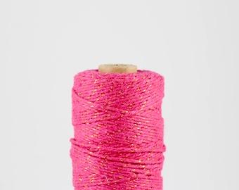 FULL SPOOL Metallic Gold Pink Baker's Twine - 100m