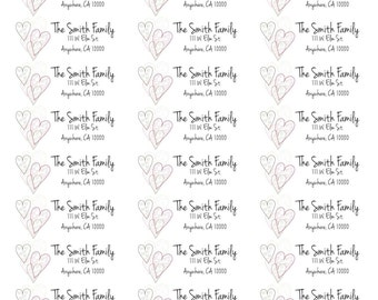 Heart Address Stickers-Personalized Address Labels-Customized Address Labels-Heart Stickers-Shipping Label Stickers-Custom Shipping Labels