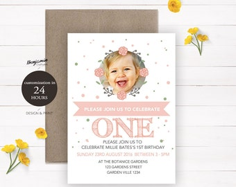 Baby 1st birthday invitation Baby birthday invite card posters souvenirs Printable Digital Personalized Customized Invitation  Flower Wreath