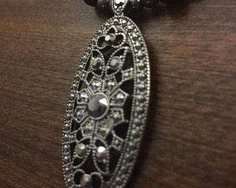 Black coral antique pendant necklace