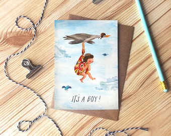 New Baby Greetings Card, It's a Boy, Baby Boy, New Baby, Illustrated Stalk Card